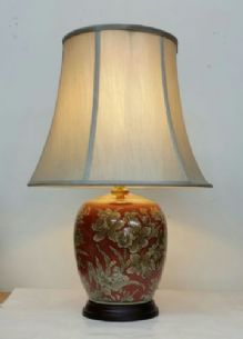 Large 55cm Chinese Style Rich Red Ceramic Table Buffet Lamp Light w Shade